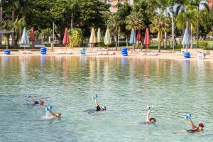 Aqua fitness in the Wave Lagoon - Accommodation QLD